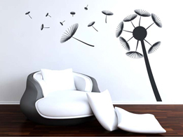 Wall sticker of a dandelion